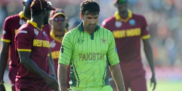 Pakistan's Sohail Khan walks from the field after they lost their Cricket World Cup match to the West Indies by 150 runs in Christchurch, New Zealand, Saturday, Feb. 21, 2015. (AP Photo/Ross Setford)