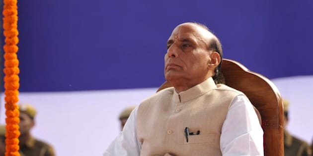 NEW DELHI, INDIA - FEBRUARY 16: Union Home Minister Rajnath Singh as the Chief Guest, during the Raising Day Parade organized by Delhi Police, at New Police Lines, Kingsway Camp, on February 16, 2015 in New Delhi, India. (Photo by Saumya Khandelwal/Hindustan Times via Getty Images)
