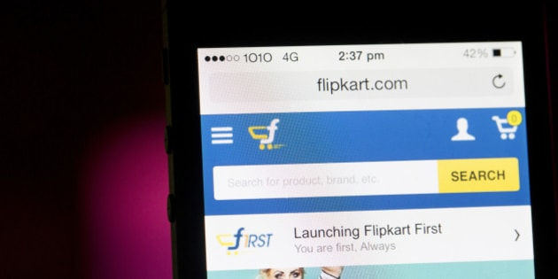 Flipkart's application is displayed on an Apple Inc. iPhone 5c in an arranged photograph in Hong Kong, China, on Wednesday, May 21, 2014. Flipkart, India's largest online retailer, will buy competitor Myntra.com, according to people with knowledge of the talks, to gain a business with higher margins and strengthen its position in the local market against Amazon.com Inc. Photographer: Brent Lewin/Bloomberg via Getty Images