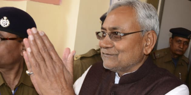 PATNA, INDIA - FEBRUARY 20: JD (U) senior leader Nitish Kumar after Jitan Ram Manjhi resigned as Bihar Chief Minister on February 20, 2015 in Patna, India. Former chief minister of Bihar Nitish Kumar will get back the reins of Bihar on February 22 capping a fortnight-long political drama which ended in an anti-climax with rebel JD(U) leader Jitan Ram Manjhi resigning as chief minister shortly before the floor test sensing imminent defeat. (Photo by Arun Abhi Abhi/Hindustan Times via Getty Images)