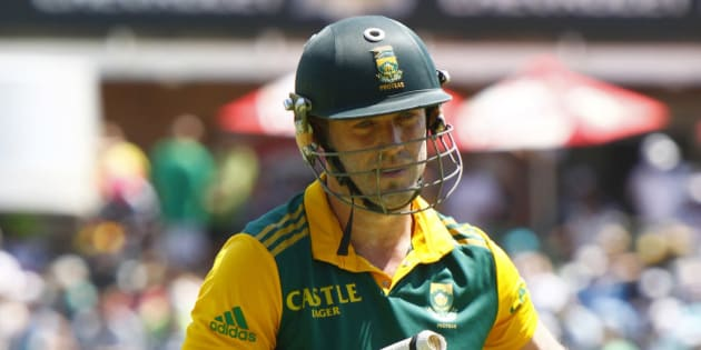 South Africa's AB de Villiers leaves the field after being dismissed during the one day international cricket match between South Africa and the West Indies in Port Elizabeth, South Africa, Sunday, Jan. 25, 2015. (AP Photo/Michael Sheehan)