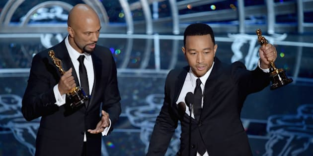HOLLYWOOD, CA - FEBRUARY 22:  Lonnie Lynn aka Common and John Stephens aka John Legend accept the Best Original Song Award for 'Glory' from 'Selma' during the 87th Annual Academy Awards at Dolby Theatre on February 22, 2015 in Hollywood, California.  (Photo by Kevin Winter/Getty Images)