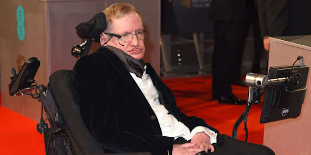 Stephen Hawking arrives for the British Academy  Film and Television Awards 2015, The BAFTAs, at the Royal Opera House, in London, Sunday, Feb. 8, 2015. (Photo by Jonathan Short/Invision/AP)