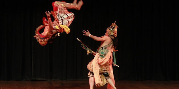 NEW DELHI, INDIA - FEBRUARY 23: Artists of an Indonesian troupe perform dance drama on Ramayana at the inauguration of International Ramayana Mela at FICCI Auditorium on February 23, 2015 in New Delhi, India.  Addressing the event the, Prime Minister Narendra Modi said that world affairs are no longer on one track. Soft power is becoming increasingly critical in world affairs across the world and India should leverage its great traditions and culture in forging ties with countries around the world in a way that is deeper, more personal, and therefore, far more powerful. (Photo by Sanjeev Verma/Hindustan Times via Getty Images)
