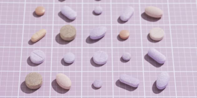 pharmaceuticals arranged neatly on graph paper
