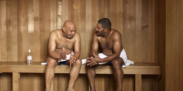 Mature men in sauna