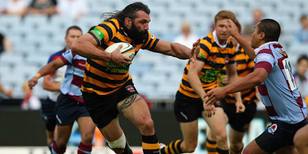 SYDNEY, AUSTRALIA - FEBRUARY 25:  Sebastien Chabal of Balmain runs the ball during the Sydney Grade Rugby match between Balmain and Petersham at ANZ Stadium on February 25, 2012 in Sydney, Australia.  (Photo by Cameron Spencer/Getty Images)