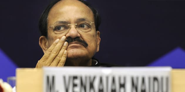 NEW DELHI, INDIA - JANUARY 13: Union Urban Development Minister M Venkaiah Naidu during the India Water Week 2015 at Vigyan Bhavan on January 13, 2015 in New Delhi, India. The theme of five day water week is Water Management for Sustainable Development. (Photo by Sonu Mehta/Hindustan Times via Getty Images)