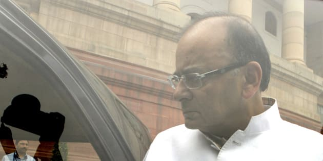 NEW DELHI, INDIA - FEBRUARY 24: Union Finance Minister Arun Jaitley after BJP Parliamentary party meeting during Budget session at Parliament house on February 24, 2015 in New Delhi, India. The government introduced the land acquisition amendment bill in the Lok Sabha amid an uproar by the opposition. (Photo by Arvind Yadav/Hindustan Times via Getty Images)