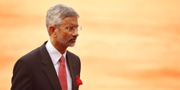 NEW DELHI, INDIA - FEBRUARY 16: Indian Foreign secretary S Jaishankar during the ceremonial reception of Sri Lankan President Maithripala Sirisena at the forecourt of Rashtrapati Bhavan, on February 16, 2015 in New Delhi, India. PM Modi said the two countries also agreed to expand defence cooperation, but gave no details. Sirisena said,'This is my first visit and it has given very fruitful results.' India sealed a nuclear energy agreement with Sri Lanka, its first breakthrough with the new government of the tiny Indian Ocean Island where China has been building ports and highways in a diplomatic push in recent years. (Photo by Ajay Aggarwal/Hindustan Times via Getty Images)