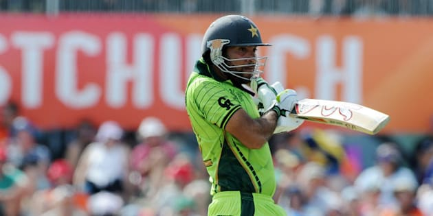 Pakistan's Sohaib Maqsood plays a shot during their Cricket World Cup match against the West Indies in Christchurch, New Zealand, Saturday, Feb. 21, 2015. (AP Photo/Ross Setford)