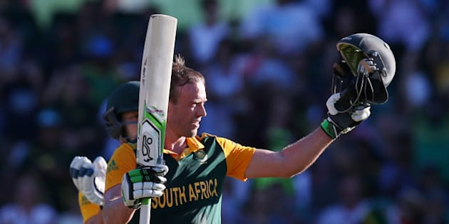 South Africa's AB De Villiers celebrates after scoring a 150 runs during their Cricket World Cup Pool B match against the West Indies in Sydney, Australia, Friday, Feb. 27, 2015. (AP Photo/Rick Rycroft)