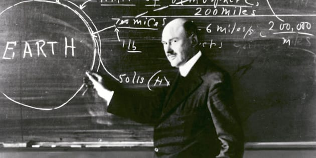 Dr. Robert H. Goddard at a blackboard at Clark University in Worcester, Massachusetts, in 1924. Goddard began teaching physics in 1914 at Clark and in 1923 was named the Director of the Physical Laboratory. In 1920 the Smithsonian Institution published his