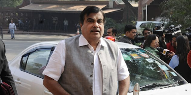 NEW DELHI, INDIA  NOVEMBER 24: Minister for Road and Transport Nitin Gadkari arriving for the start of the winter session of Parliament in New Delhi.(Photo by Photo by Yasbant Negi/India Today Group/Getty Images)