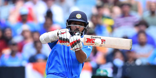 India's Shikhar Dhawan looks to play a pull shot during their Cricket World Cup pool B match against South Africa in Melbourne, Australia, Sunday, Feb. 22, 2015. (AP Photo/Theo Karanikos)