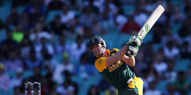 South Africa's AB De Villiers hits the ball to the boundary during their Cricket World Cup Pool B match against the West Indies in Sydney, Australia, Friday, Feb. 27, 2015. (AP Photo/Rick Rycroft)