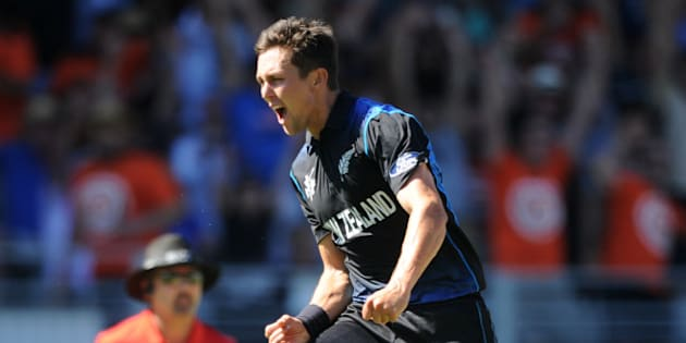New Zealand's Trent Boult celebrates after taking the wicket of Australia's Mitchell Starc for no score during their Cricket World Cup match in Auckland, New Zealand, Saturday, Feb. 28, 2015. (AP Photo Ross Setford)