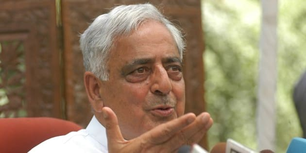 INDIA - MAY 27:  Mufti Mohammed Sayeed, Chief Minister of Jammu and Kashmir, during the press conference in New Delhi, India  (Photo by Pankaj Nangia/The India Today Group/Getty Images)