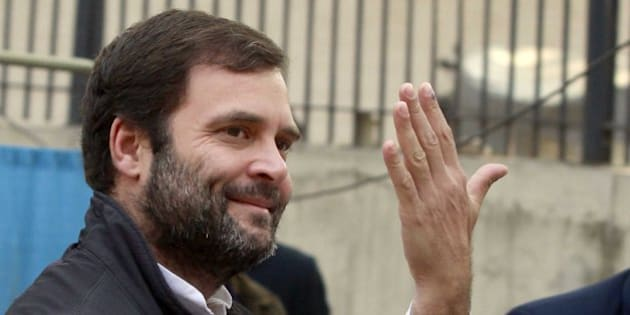 NEW DELHI, INDIA - FEBRUARY 7: Congress vice president Rahul Gandhi shows his ink-marked finger after casting his vote at a polling station during the Delhi Assembly Elections 2015, at Aurangjeb Lane on February 7, 2015 in New Delhi, India. Delhi is headed for a record turnout on Saturday as more than 69.5% of the city's 1.33 crore voters cast their ballot till 5pm. After a slow start in the morning, polling picked up around noon, with scores of people queuing up at booths to exercise their franchise in an electrifying electoral battle that the national capital has never witnessed before. 69.5 per cent of 1.3 voters had been inked by 5 pm on Saturday, as Delhi looked set for a record turnout after a slow morning. There are 673 candidates in the fray now. Voting is taking place in 11,763 centers, located in schools. Many initial voters in middle class and posh areas were early morning walkers. (Photo by Sanjeev Verma/Hindustan Times via Getty Images)