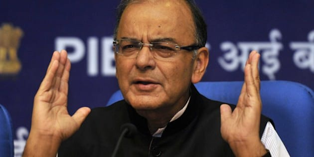 NEW DELHI, INDIA - FEBRUARY 28: Union Finance Minister Arun Jaitley during a Post-Budget press conference at National Media Centre on February 28, 2015 in New Delhi, India. During a press conference Mr. Jaitley said, 'I am sure all states will take the budget in the right spirit and contribute towards nation building. If there is development, the middle class will also benefit. If you see the relief that has been given to middle class tax payers in this budget and the last one, don't think they've been given that in past 68 budgets. Our approach has been to encourage the middle-class to save. We really have to cut down a very large part of the public spending.' (Photo by Vipin Kumar/Hindustan Times via Getty Images)
