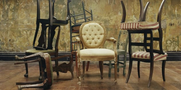 Assorted antique chairs, indoors