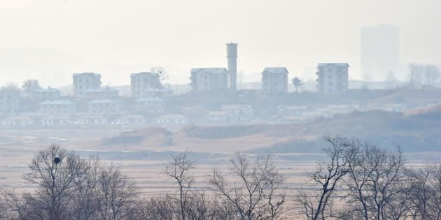 North Korea's propaganda village of Gijungdong is seen from a South Korean military check point of the truce village of Panmunjom in the Demilitarized Zone dividing the two Koreas on February 4, 2015. North Korea appeared to rule out any resumption of dialogue with the United States, threatening to react to any US 'war of aggression' with nuclear strikes and cyber warfare.  AFP PHOTO / JUNG YEON-JE        (Photo credit should read JUNG YEON-JE/AFP/Getty Images)