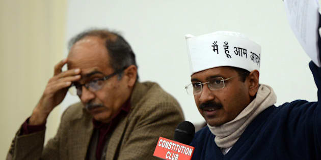 NEW DELHI, INDIA - FEBRUARY 16: AAP convener Arvind Kejriwal with Prashant Bhushan at a press conference in New Delhi on Saturday. (Photo by Parveen Negi/India Today Group/Getty Images)