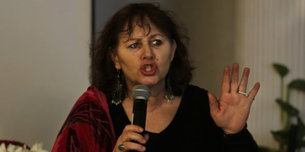"""British filmmaker Leslee Udwin addresses a press conference on her documentary film  """"India's Daughter,"""" about the Dec. 16, 2012 gang rape in a moving bus, in New Delhi, India, Tuesday, March 3, 2015. Mukesh Singh, one of the men convicted of raping and killing a woman in the brutal 2012 gang attack on a New Delhi bus said in a TV documentary that if their victim had not fought back she would not have been killed. The film will be shown on March 8, International Women's Day, in India, Britain, Denmark, Sweden and several other countries. (AP Photo/Altaf Qadri)"""
