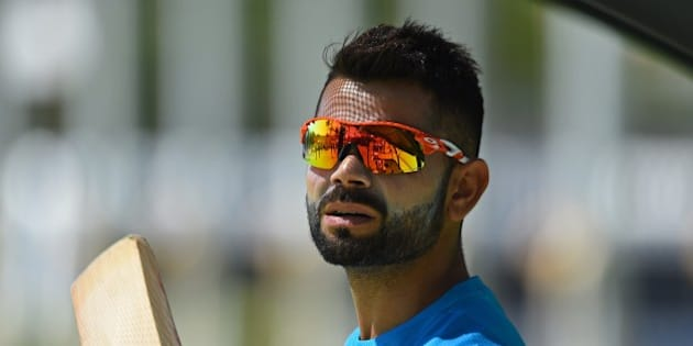 India's Virat Kohli prepares to bat during a final training session ahead of their Pool B 2015 Cricket World Cup match against the United Arab Emirates, in Perth on February 27, 2015. AFP PHOTO / Greg WOOD --IMAGE RESTRICTED TO EDITORIAL USE - STRICTLY NO COMMERCIAL USE--        (Photo credit should read GREG WOOD/AFP/Getty Images)