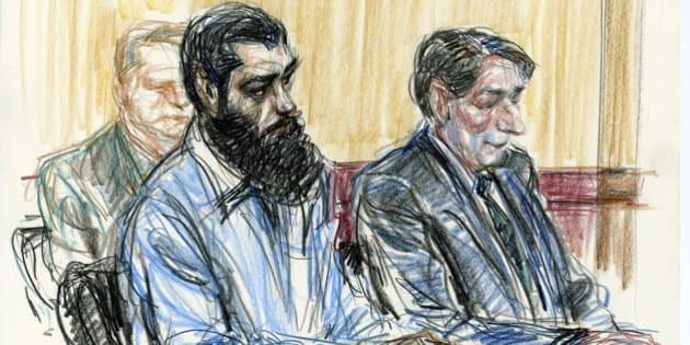 In this courtroom drawing Abid Naseer, front left, sits next to his court-appointed legal adviser  James Neuman, right, as they listen to the guilty verdict against Naseer in federal court Wednesday, March 4, 2015, in the Brooklyn borough of New York.  The jury found Naseer, who acted as his own lawyer, guilty in a failed al-Qaida bomb plot after a trial that featured spies in disguise, evidence from the raid on Osama bin Laden's compound and the defendant's questioning of an admitted co-conspirator. (AP Photo/Victor Juhasz)
