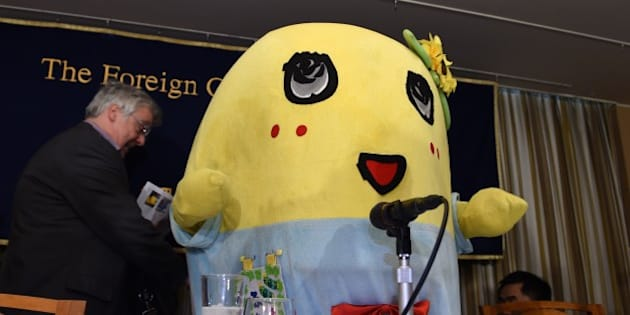 Pear fairy 'Funassyi', the unofficial mascot of Funabashi City, a suburban city of Tokyo, appears at the Foreign Correspondents' Club in Tokyo on March 5, 2015. The roly-poly mascot held its first press conference with international media.    AFP PHOTO / Toru YAMANAKA        (Photo credit should read TORU YAMANAKA/AFP/Getty Images)