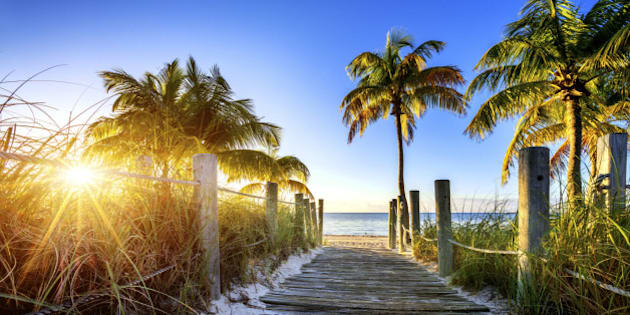 way to the beach in Key West, Miami, Floride, USA