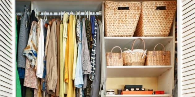 Canada, Ontario, Toronto, View of organized wardrobe