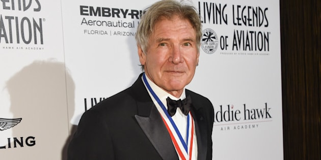 Harrison Ford attends the 12th Annual Living Legends of Aviation Awards at The Beverly Hilton Hotel on Friday, Jan 16, 2015, in Los Angeles. (Photo by Rob Latour/Invision/AP)