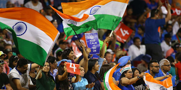 PERTH, AUSTRALIA - MARCH 06: Indians fans show their support during the 2015 ICC Cricket World Cup match between India and the West Indies at WACA on March 6, 2015 in Perth, Australia.  (Photo by Paul Kane/Getty Images)