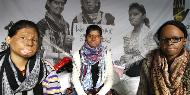 NEW DELHI, INDIA - DECEMBER 16: Acid attack victims sit on indefinite hunger strike on the 5th day demanding fast-track court for violence against women at Jantar Mantar on December 16, 2014 in New Delhi, India.  (Photo by Arun Sharma/Hindustan Times via Getty Images)