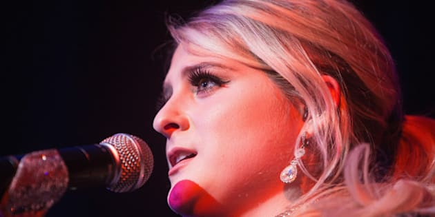 SEATTLE, WA - FEBRUARY 14:  Meghan Trainor performs on stage during 'That Bass Tour' at the Neptune Theatre on February 14, 2015 in Seattle, Washington.  (Photo by Mat Hayward/Getty Images)