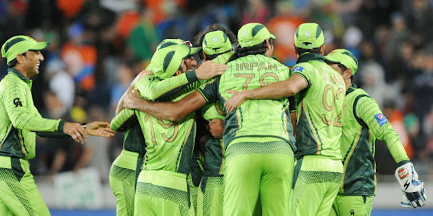 The Pakistan team celebrate after their 29 run win over South Africa in their Cricket World Cup Pool B match in Auckland, New Zealand, Saturday, March 7, 2015. (AP Photo/Ross Setford)