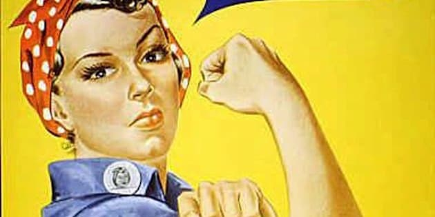 """Rosie the Riveter"" dressed in overalls and bandanna was introduced as a symbol of patriotic womanhood in the 1940's.  Rose Will Monroe played  ""Rosie the Riveter,"" the nation's poster girl for women joining the work force during World War II.  Monroe was working as a riveter building B-29 and B-24 military airplanes at the Willow Run Aircraft Factory in Ypsilanti, Mich., when she was asked to star in a promotional film about the war effort.  (AP Photo)"