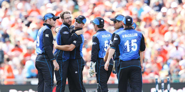 NAPIER, NEW ZEALAND - MARCH 08:  Daniel Vettori of New Zealand is congratulated on taking his 300th career ODI wicket to dismiss Nawroz Mangal of Afghanistan during the 2015 ICC Cricket World Cup match between New Zealand and Afghanistan at McLean Park on March 8, 2015 in Napier, New Zealand.  (Photo by Hagen Hopkins/Getty Images)