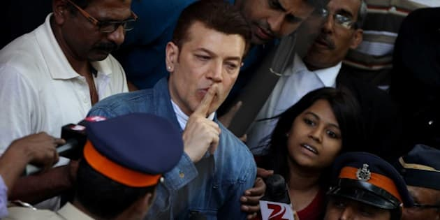 MUMBAI, INDIA - MARCH 8: Bollywood actor Aditya Pancholi produced at the Bandra court and granted bail, after being arrested for assaulting a bouncer at a pub in Juhu, on March 8, 2015 in Mumbai, India. According to the Santacruz Police, Pancholi, who was allegedly under the influence of alcohol, was annoyed at a disc jockey at a Juhu-Tara Road night club in Juhu, after he did not play the songs he had requested. (Photo by Satish Bate/Hindustan Times via Getty Images)