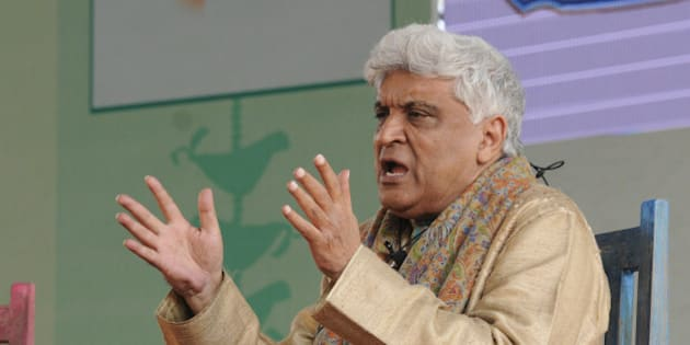 JAIPUR, INDIA - JANUARY 21: Lyricist Javed Akhtar addresses the session on Gaata Jaye Banjara: Film Songs- Urdu, Hindi, Hindustan at the Jaipur Literature Festival at Diggi Palace on January 21, 2015 in Jaipur, India. One of the largest literary festivals on earth, the Jaipur Literature Festival brings together some of the greatest thinkers and writers from across South Asia and the world. (Photo by Mohd Zakir/Hindustan Times via Getty Images)