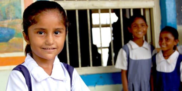 Indian girl at Village school trip near Ahmedabad