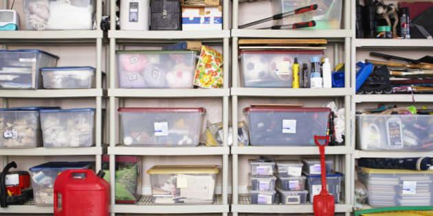 Plastic Boxes on Shelves