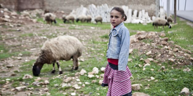 A Kurdish girl is seen in Gramel village, north of Aleppo, Syria, Saturday, Dec. 22, 2012. This village has been spared by Syrian  government shelling but like everywhere else around Aleppo, there isn't any running water or electricity.(AP Photo/Virginie Nguyen Hoang)