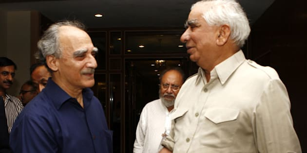 NEW DELHI, INDIA – JULY 22: Arun Shourie (left) with BJP leader Jaswant Singh during the launch of his book Does He Know a Mother's Heart? How Suffering Refutes Religions in New Delhi on Friday, July 22, 2011.(Photo by Sipra Das/India Today Group/Getty Images)