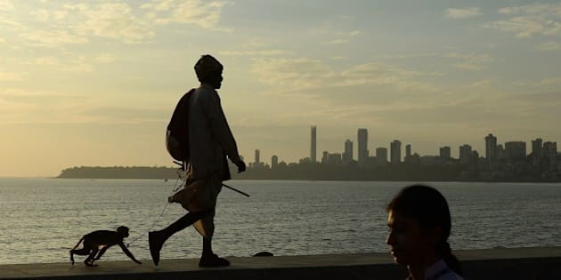 An Indian man leads his pet monkey on a leash along the seafront in Mumbai on January 21, 2015. India is part of a global trend that is advancing towards an increasing urbanisation, with more than half of the world's population living in towns and cities.   AFP PHOTO / PUNIT PARANJPE        (Photo credit should read PUNIT PARANJPE/AFP/Getty Images)