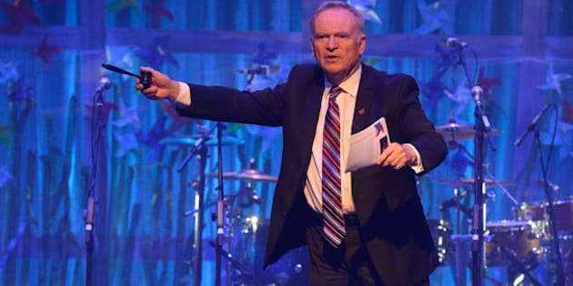 LONDON, ENGLAND - NOVEMBER 04:  Lord Jeffrey Archer on stage at the second annual SeriousFun Network Gala at at The Roundhouse on November 4, 2014 in London, England.  (Photo by David M. Benett/Getty Images for SeriousFun Network Gala)