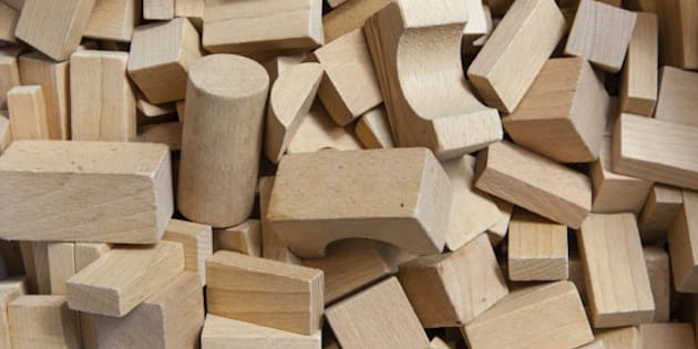 Background of Wooden Building Blocks in a Box