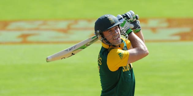 South African batsman A.B de Villiers hits a ball for six runs during their Cricket World Cup Pool B match against the United Arab Emirates in Wellington, New Zealand, Thursday, March 12, 2015. (AP Photo/Ross Setford)